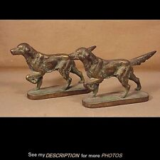 Antique 1930s Pair Littco Products Cast Iron Setter Bookends / Doorstop