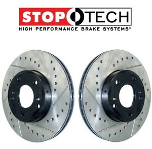 StopTech Pair Set of 2 Rear Sport Drilled/Slotted Brake Rotors For Audi A4 A5 A6