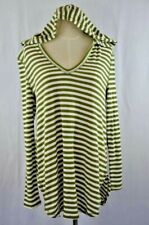 Olivia Sky Women's Hoodie Green Striped Size: M Knit Top Long Sleeve Brand NEW
