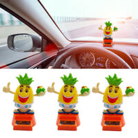 JN_ DV_ Cartoon Pineapple Solar Power Swinging Doll Car Interior Ornament Kids