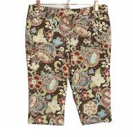 Ann Taylor Loft Marisa Bermuda Shorts Womens Size 12 Floral Pockets Stretch