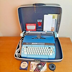 Vtg Smith Corona Coronet Automatic 12 Blue Electric Typewriter Case w/Key Manual