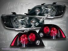 02 03 MITSUBISHI LANCER ES/LS/OZ JDM BLACK HEADLIGHTS + TAIL LIGHTS SEDAN 4-DOOR