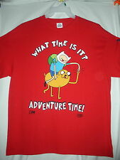"""NEW CARTOON NETWORK """"WHAT TIME IS IT? ADVENTURE TIME!""""  T-SHIRT XL RED"""