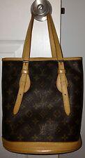Louis Vuitton LV Monogram Petit Bucket Bag Purse Handbag Authentic