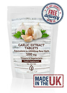 Garlic Tablets 100mg Extract as 10000mg Raw Herb ✔Made in UK