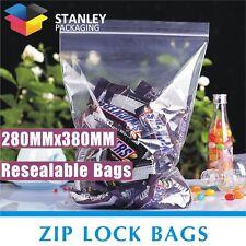 200 x Zip Lock 280X380mm Resealable Ziplock Plastic Bags Recloseable Zipper Bags