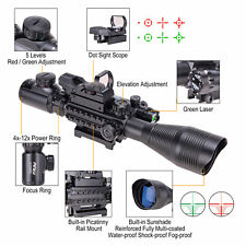 Pinty Tactical Rangefinder Reticle Rifle Scope Green Laser&Dot Sight 4-12X50Eg