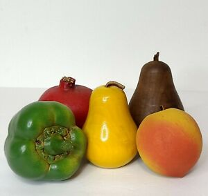 Lot of 6 Wooden Faux Artificial Lifelike Fruit and Vegetables Mid-Century
