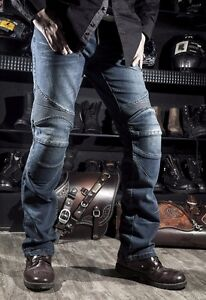 Motorcycle Biker Distressed Pants Denim Jeans Trousers Protection Pads Fashion