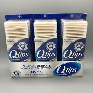 Lot of 3 Q-tips Cotton Swabs 625 ct (1875 total) NEW FS!