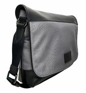 COACH Men's Nylon Leather Messenger Bag~Black/Heather Grey~NWT!!!MSRP$395