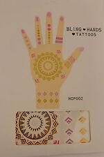Donna Tatuaggi Temporanei Oro Finto Bling Hands Corpo Arte Pelle Festa Braccia