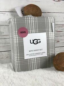 UGG 100% Cotton Turkish Flannel Plaid KING Sheet Set, Seal Gray NWT