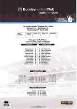 Burnley Football Reserve Fixture Programmes (2000s)