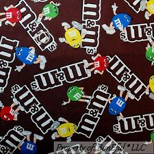 BonEful Fabric FQ Cotton Quilt VTG Brown Chocolate Red Green M&Ms Candy Dot Face