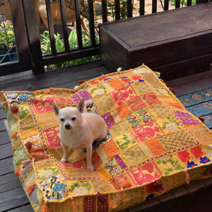 Pouffe Handmade Foot Stool Bohemian Indian Patchwork Ottoman Bed dog Pouf Cover