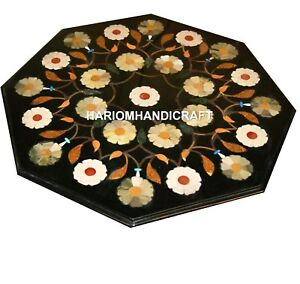"12"" Marble Coffee Table Top Gemstone Mosaic Floral Inlay Furniture Decors M328"