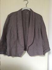 Three Dots Women's Linen Cropped Jacket - Size Medium- Gray
