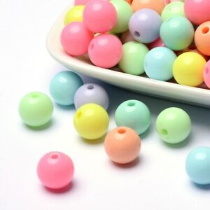 Solid Chunky Bubblegum Acrylic Ball Beads Mixed Colours 12mm pack of 50