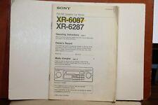 SONY FM/AM CASSETTE CAR STEREO XR-6087 XR-6287 OPERATING INSTRUCTION BOOKLET