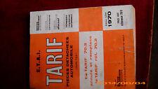 """TARIF DE PIECES AUTOMOBILES """"E.T.A.I.  EDITION JUILLET 1970"""""""