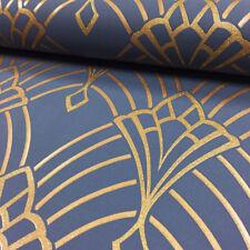 Dark Blue Gold Glitter Sparkle Wallpaper Geometric Retro Art Deco Astoria Rasch