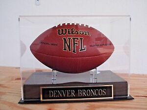 Denver Broncos Football Display Case With A Nameplate For Your Signed Ball