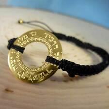 Gold Blessing Pendant Black String Bracelet
