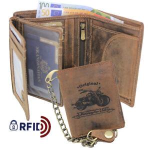 Homme Cuir Porte Monnaie Biker Chaîne Motard Portefeuille Porte-Monnaie Rfid