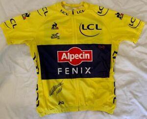 Mathieu van der Poel signed 2021 Tour de France yellow cycling jersey Alpecin