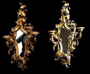 Coppia di candelieri aplique con specchio stile barocco candela muro R78