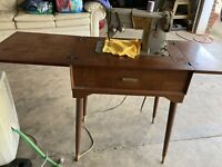 Vintage Singer Sewing Machine Made In Great Britain Model 328K Cord Table Works