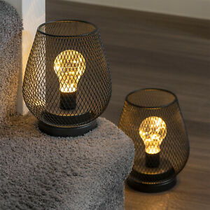Set of 2 Metal Cage Table Lamps Battery Powered Cordless Accent LED Lights