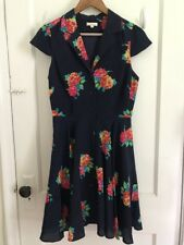 Shoshanna Floral Button Down Collared Short Sleeve Navy Blue Dress size 6
