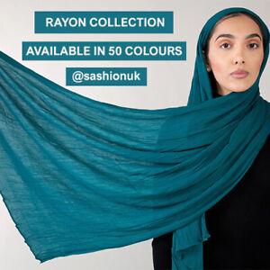 Rayon Hijab Habiba Da Silva Inspired Crinkle Scarf Maxi Wrap 50+ Colours
