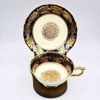 Paragon Double Warrant Tea Cup Saucer A531 Heavy Gold Filigree Navy Blue Vintage