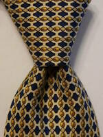 HERMES 7494 IA Men's 100% Silk Necktie FRANCE Luxury Geometric Blue/Yellow EUC
