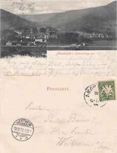 1899 ! AK Amorbach v. Sonnenberg aus 18 10 99 Bayernphilatelie Ankunft WERTHEIM