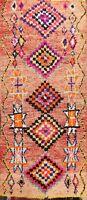 Vegetable Dye Authentic Moroccan Berber Handmade Nomad Tribal Runner Rug 4'x9'