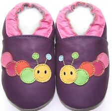 Minishoezoo caterpillar purple 12-18 m soft sole leather shoes walking slippers