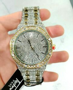 Men Fully Gold Silver Ice Watch Bling Rapper Simulate Lab Diamond Luxury Octagon