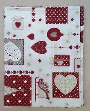 TOVAGLIA NATALE cotone Bianco e rosso Cuori Shabby 6 posti MADE IN ITALY regalo