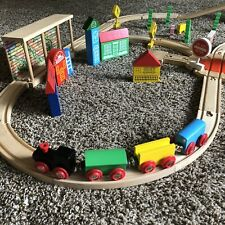 Wooden Train Track Set - Lot Of over 40 pieces including 3 bridges & 4 train car
