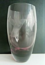 CAITHNESS humming bird etched art glass large vase Amethyst HELEN MACDONALD 1981