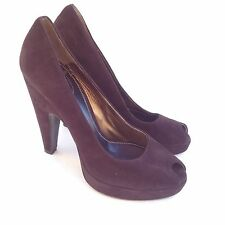 PRADA Womens Shoes Size 6.5 Brown Suede Leather Open Toe Pumps Heels EUR 37