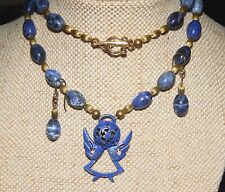Pendant Beaded Necklace Set Sodalite & Hand-Patina'd Star Angel