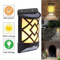 Solar Flame Effect Motion Sensor LED Wall Light Outdoor Garden Yard Path Lamp