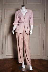 AUTH CHANEL SUIT JACKET PANTS PINK WOOL SILK  CC BUTTONS SHORT SLEEVES SIZE 40