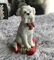 Vintage Schmid Terrier Dog Sitting on Christmas Present- Gordon Fraser 1984
